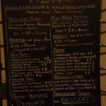 Menu board outside of the Restaurant