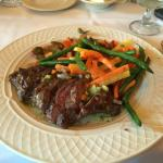 Flat Iron Steak with sweet potato mash and steamed vegetables