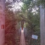 Swinging bridge in to town.
