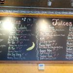 menu of smoothies and juices