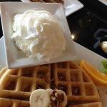 Banana Waffle with a heaping scoop of FRESH whipped cream.