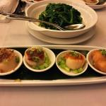 Steamed Scallops in Four Tastes and Stir-fried Green Pea Sprouts