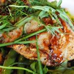 Mustard Crusted Sea Bass, Sauteed Barley, Blue Lake Beans, Peppercress, Black Pepper Sauce