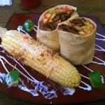 "Special: Meat (in this case steak), fries, Pico De Gallo, guacamole in wrap + ""Mexican street co"