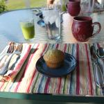 Donna's Amazing Culinary Breakfast Experience - First Course of Homemade Muffins with Smoothie