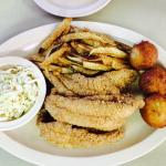 Pulled pork plate, a party melt and fried catfish, with appetizers of fried green tomatoes and b