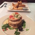 Brunch!  Chicken and waffles. Fried green tomatoes with crabmeat, goat cheese and lemon butter.