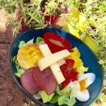 suggestion de salade: chèvre pané, oeuf mollet, bacon grillé, caviar d'aubergine, poivrons grill