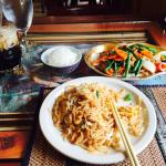 Pad Thai, soft shell crab, and iced coffee