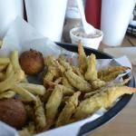 Fried Blue Crab Claws, Fries, and hushpuppies