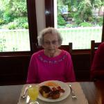 Mom enjoying one of Kathy's wonderful breakfasts