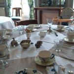 Table du petit déjeuner dressée