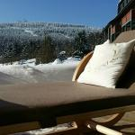 Terrasse Relax Lodge / Blick zum Fichtelberg