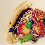 Seared Scallops Salsify Puree, Toasted Farro