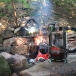 Camp coffee! Bring a french press and kettle and make your own each morning! That is our own gri