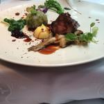 deer fillet with stuffed cabbage with mushrooms, sauce black currant