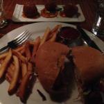 Chicken burger and rice balls
