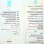 The main menu with prices / la carta con los precios