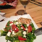 Greek salad (minus the onions) with salmon