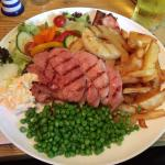 Gammon steak, on an enormous plate! Home made chips too :p