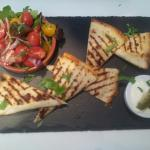 Mexican Brunch! Cheese & Pinto Quesadilla's...Jalapeño Sour Cream & Balsamic Tomato Salad!