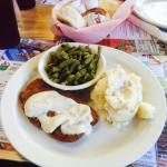 Chicken-fried steak, mashed potatoes & green beans - daily special