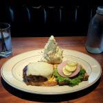 veggie burger and smashed potatoes