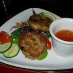 Home-made crab cakes, chilli dip
