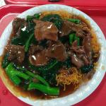 Crispy egg noodles with beef ($6.00) with gailan