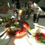 Greek Salad and fresh bread and tzatziki - Yum!