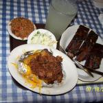 Beef ribs and stuffed potatoes (2 seperate and expensive entrees) This tray cost me $30.00