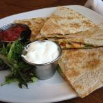 Quesadilla-tomato, nacho cheese, avocado, pickled jalapenos.  Great lunch or small plate