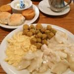 Cracker Barrel, chicken & dumpling, mac & cheese, fried okra with a side of biscuits!