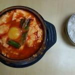 soontubu - a tofu soup served boiling hot