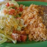 $7.95 three taco lunch special with cheese, lettuce, and tomatoes substituted for cilantro and o