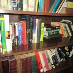 The bookshelf in the common area.