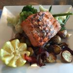 Sockeye salmon plate with fresh, locally grown vegetables