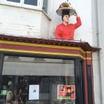Jane on top of the cafe!!!!