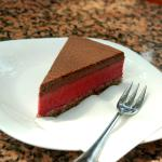 Raw cake with chocolate and raspberry