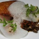 Hamachi - bread crusted maitaki kohlrabi pickled pearl onion rings sherry gastrique pickled hone