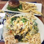 Chicken Quesadilla Salad and Burger with Fries
