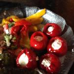 Peppadew peppers stuffed with cream cheese and herbs - outstanding!