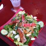 Fresh, crunchy salad, with fresh grilled tuna.