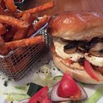 Halloumi on brioche with mushrooms and sweet potato fries on the side - interesting veggie fayre