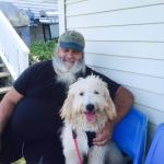 John and our goldendoodle, Theo, chillin' after a delicious lunch of fried clams and lobster rol