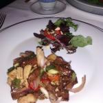 Fantastic 4-course dinner! Veggie, chicken, fish, kangaroo.