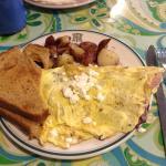 Feta, onion, and ham omelet - 3 egg size.