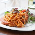 Pollo Milanese With Spaghetti