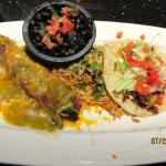 Chile Relleno, beef taco, rice & beans, Ole!!