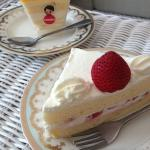Strawberry cake, Mango and cheese mousse